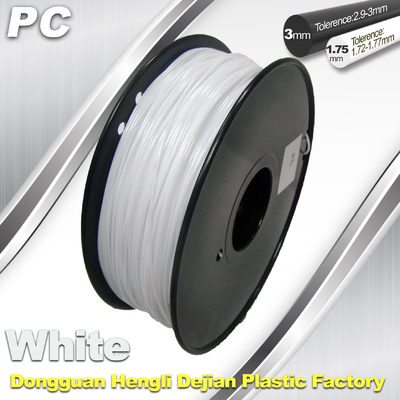 1,75 / 3,0 mm żarnik PC White dla RepRap, Cubify 3D Printer Filament